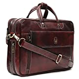 WILDHORN Genuine Leather 25 Ltrs Brown Laptop Bag for Men with Padded Laptop Compartment | Everyday Crossbody Shoulder Office Messenger Bag(WHBG502/1)