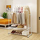 <span class='highlight'><span class='highlight'>BOFENG</span></span> Metal Garment Rack Heavy Duty Double Rail Clothes Rack Organizer 2-Tier Storage Shelf for Boxes Shoes Boots Commercial Grade Multi-Purpose, White
