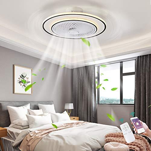 TATANE Ø58CM Mudo Techo Ventilador con Encendiendo 92W Moderno App y Control Remoto LED Regulable Ultradelgado Invisible Luz del Ventilador para Sala Habitación Comedor Oficina Lámpara de Techo