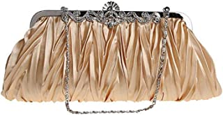 Evening Clutch Purses for Women - Satin Evening Bag Classic Evening Party Purse and Wedding Clutch for Ladies with Rhinestone