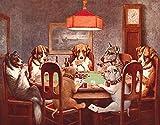 Desperate Enterprises Seven Dogs Playing Poker Tin Sign, 16' W x 10.5' H