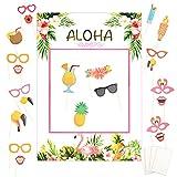 LOOPES 21 Pezzi Photo Booth hawaiano Prop,Flamingo Party Forniture Tropicali Luau Photo Pu...