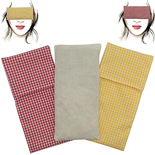 Almohada para los ojos'Pack Duo Prater' (1 relleno y 2 fundas lavables) | Semillas de Lavanda y semillas de arroz | Yoga, Meditación, Relajación, descanso de ojos.