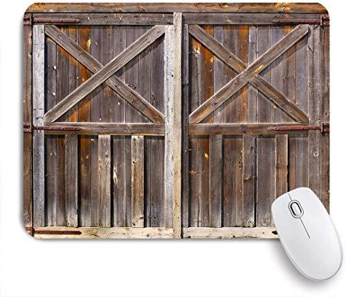 NOLOVVHA Gaming Mouse Pad Rutschfeste,Rustikale alte hölzerne Scheunentür des Bauernhauses Oak Countryside Village Board Rural Life Photo Print,für Computer Laptop Office Desk,240 x 200mm