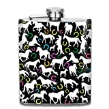 White Horses Silhouettes and Colored Horseshoes Stainless Steel Flask Classic 7OZ Hip Flask Flat Liquor Flask Whiskey Wine Flagon Mug