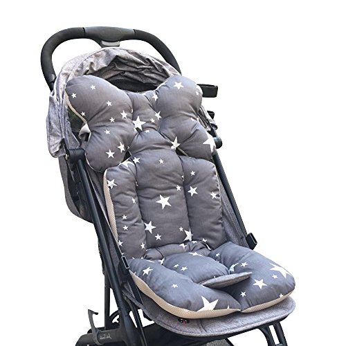 Souarts Universal Kinderwagen Sitzauflage Baumwolle wasserdichte atmungsaktiv Sitzeinlage für Baby Kinderwagen Buggy 35x78 cm (Grau)