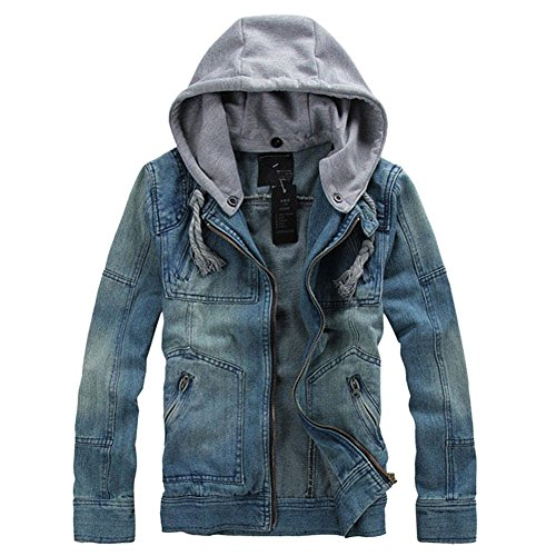 Men's Denim Hooded Jacket Button Down Classy Hoodies Casual Jeans Coats Outwear Detachable Hood,Medium,Blue