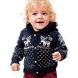 Manteaux bébé, YUYOUG Noël Bébés garçons Filles Chandail à Capuchon Fox Tricoté Sweater Tops Warm Manteau Vêtements Cardigan (12-18 Mois, Red)