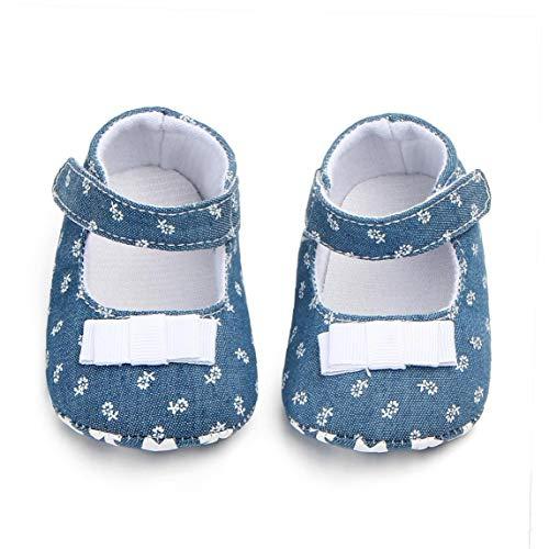 Unisex-Baby-mädchen-Baumwollschuhe Antiskid Sole-Blumen-drucken Magie Aufkleber Indoor Prewalker Schuhe Sneaker Weiß 11cm