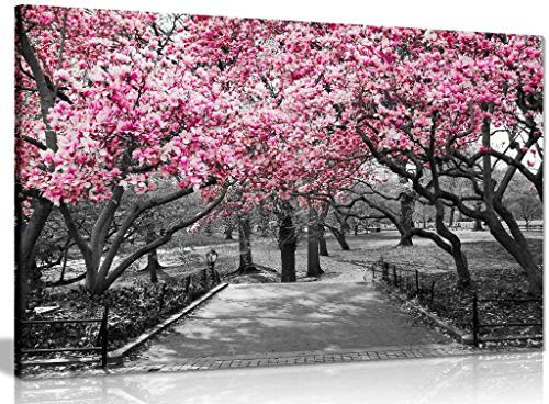 Panther Print, Canvas Wall Art, Pictures for Living Room and Bedroom, Black & White, Pink Blossoms Framed Prints for Walls, Print for Special Occasions (18x12 Inch)