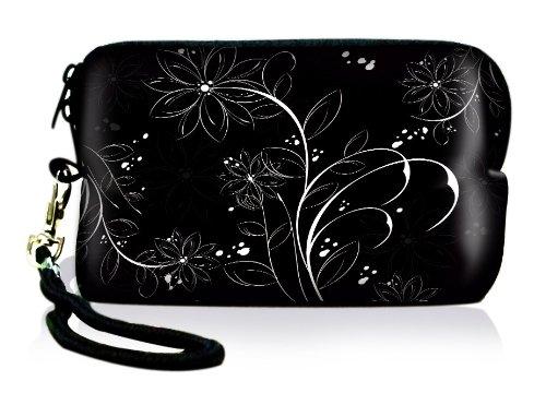 Luxburg® Design Universal cameratas hoes sleeve case voor compacte digitale camera, motief: witte bloemen op zwart