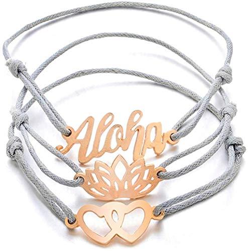 YS Pulsera Lotus Cartas de Bohemia de Hawai Pulsera Trenzada Carta Doble Del Amor Del Corazón