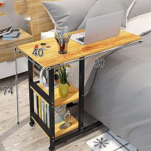 Mesa para ordenador portátil con mesa de ordenador portátil, mesa de noche, mesa de noche, mesa de noche, portátil, color amarillo