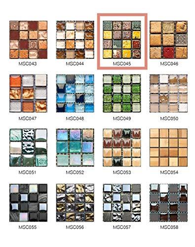 50 Piezas de Pegatinas de Azulejos Estilo Retro Mosaico Adhesivo Pegatinas Autoadhesivas Para Azulejos DIY Baño Cocina Pegatinas de Decoración Adhesivos de Pared (10*10CM*50Piezas, MSCO45)