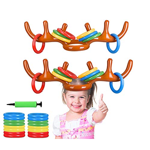 BULYPAZY Set 2 Inflatable Reindeer Antler Toss Game for Christmas Party(2 Antlers 16 Rings)