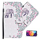 MEIKONST Huawei Y6 2019 Case, 3D Flower & Elephant PU Leather Flip Wallet with Maganetic Clasp Cards Slot Stand Full Body Protective Cover for Huawei Y6 2019/ Honor 8A, CYN Flower Elephant