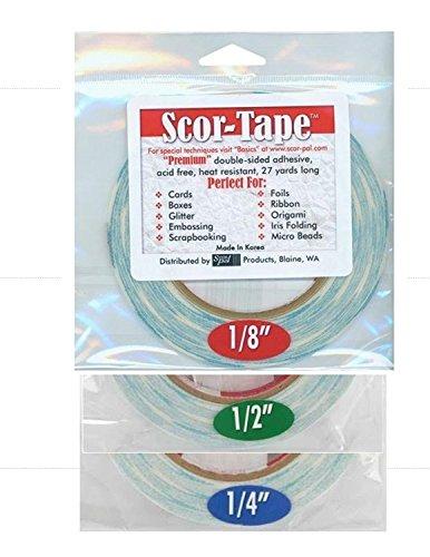 Scor-Tape Bundle 1 each of 1/8', 1/4', 1/2', by 27 Yards (201, 202, 203) Double Sided Adhesive (0.25 Yard Bundle)