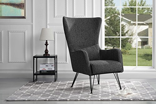 Mid-Century Modern Linen Fabric Accent Armchair with Shelter Style Living Room...