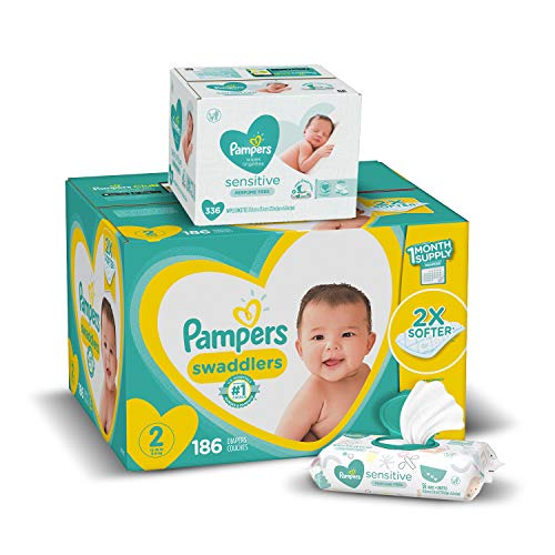 Diapers Size 2, 186 Count and Baby Wipes - Pampers Swaddlers Disposable Baby Diapers and Water Baby Wipes Sensitive Pop-Top Packs, 336 Count (Packaging May Vary)