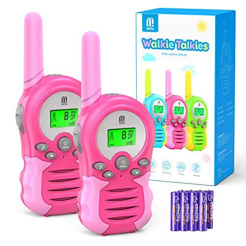 Walkie Talkie PMR446 8 Canales Función VOX Rango de 3KM 10 Tonos de Llamada con LCD Retroiluminada Walky Talky con Pilas, para Actividades Externas, Camping (Rosado)