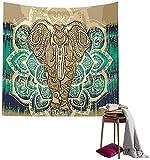 Tapicería Elefante, Psicodélico Tapiz Hippie Mandala de Pared Decoración de la Naturaleza del Hogar para Mantel Sala de Estar Ddormitorio-150 * 130cm