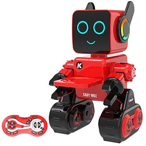 Pranite 子供のおもちゃロボット リモコンスマートロボット RCロボットおもちゃ 多機能ロボット 電動おもちゃ 充電式RCロボットキット 知育おもちゃ 会話 音楽演奏 録音機能 輸送可能 パーソナルアシスタント プログラム可能 内蔵の貯金箱 英語シス