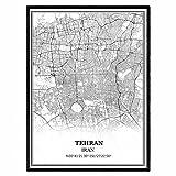 Teheran Iran Karte Wandkunst Leinwand drucken Poster