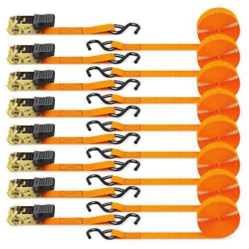 Sangle à cliquet, Ohuhu 8 pièces 680kg 4,6m Sangle d'arrimage avec tendeur à cliquet Sangles de serrage pour équipement de jardin, appareils de déménagement, moto - Orange