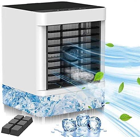 Bcamelys Condizionatore D'aria Portatile, Climatizzatore Portatile, Air Cooler con 3 Velocità del Vento Regolabili, Mini Raffreddatore D'aria (00 Nero)