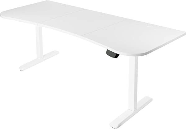 VIVO White Electric Height Adjustable Stand Up Desk Frame Workstation With 63 X 32 Inch Table Top And Controller Frame And Desktop Combo DESK KIT 2E1W
