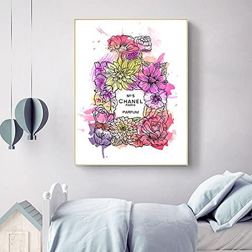 Cuadros de lienzo de estilo escandinavo impresiones botella de Perfume moderna y flor bonita decoración de habitación de niñas pintura de arte de pared de moda 50x70 CM (sin marco)