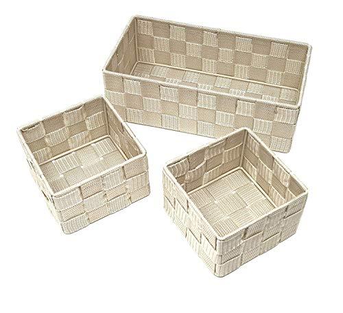 Clay Roberts Cestini portaoggetti, Set di 3, Crema, scatole di immagazzinaggio per scaffali, uffici, camere da Letto