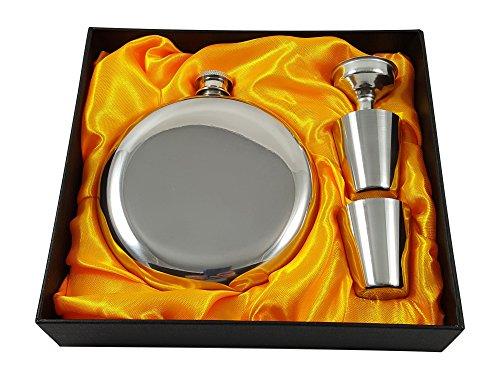 300 ml Rund-Flachmann-Geschenkset mit zwei Schnapsgläsern und Trichter in einer schwarzen Geschenkbox