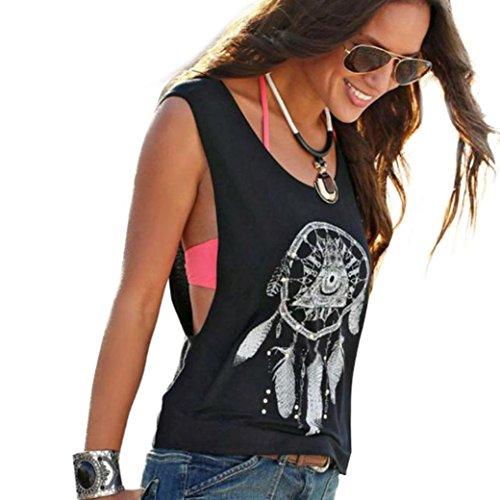 Damen Shirt Kurzarm Ronamick Sexy Frauen Dreamcatcher Printed Ärmellose Tops Crop Tank Weste Shirt Tee (Schwarz, M)