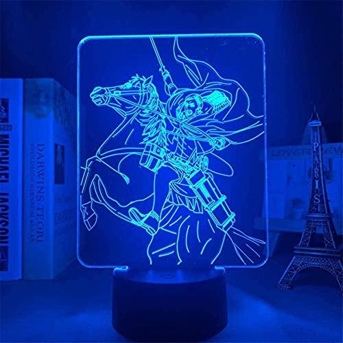Lámpara de anime 3D paraniños Anime Attack on Titan Lámpara 3D Erwin Smith LightDecoración de dormitorio Regalo para niños Attack on Titan LED Night Light Erwin Smith-Touch