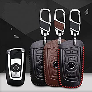 ontto for BMW Key Case Cover Leather Keyless Entry Remote Control Key Fob Jacket Shell with Keyring Fit for BMW 1 3 4 5 6 7 Series X3 X4 M2 M3 M4 M5 M6 Brown