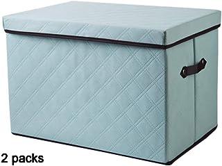 Boîte de rangement XIAOXIAO Armoire Vêtements Tissu pour Vêtements Ménage Grande Boîte À Jouets Pliable Lot De 2 (Color : ...