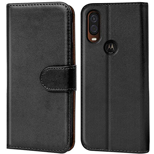 Verco Motorola One Vision Hülle, Handyhülle für Motorola One Vision Tasche PU Leder Flip Hülle Brieftasche, Schwarz