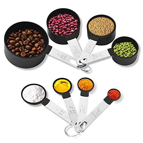 Measuring Cups and Spoons Sets 8 Piece, Stainless Steel Handle Measure Spoons and Cup Measuring Tool,Measuring Spoon for Baking (Black)