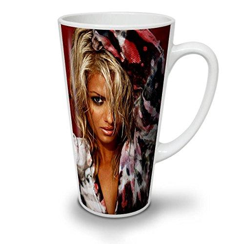 Wellcoda Blond Heiß Mädchen Erwachsene Sexy Latte BecherFrau Kaffeetasse - Komfortabler Griff, Zweiseitiger Druck, robuste Keramik