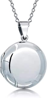 Personalized Basic Round Locket Pendant 925 Sterling Silver Necklace For Women Custom Engraved