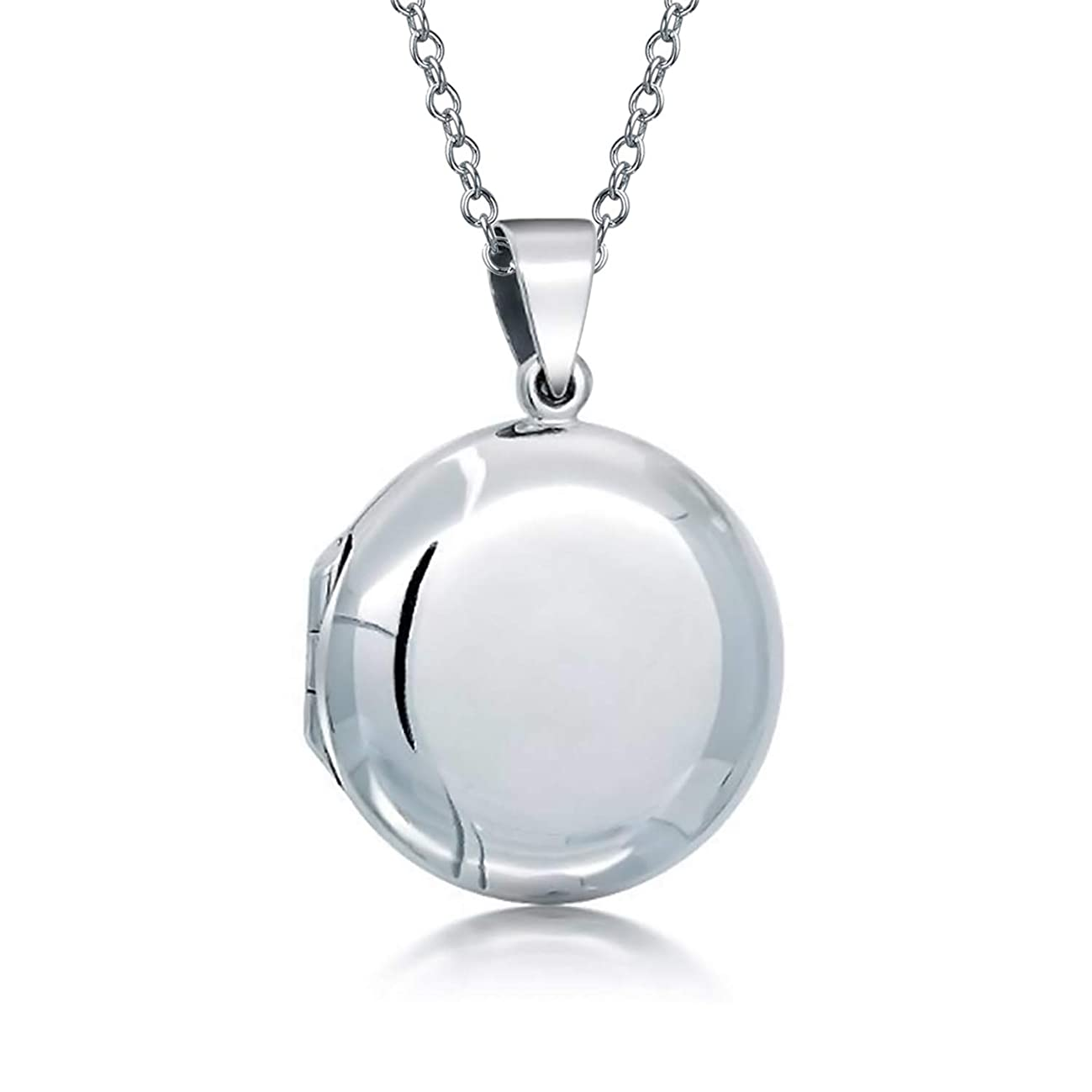 Basic High Polish Round Locket Pendant Engravable 925 Sterling Silver Necklace For Women