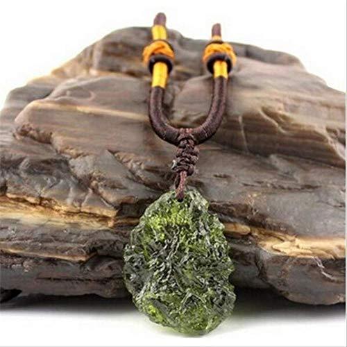 XIAOHNNL A++ Natürliche Moldavite Grün Aerolites Kristall Stein Anhänger Energie Apotropaischen Seil Einzigartige Halskette