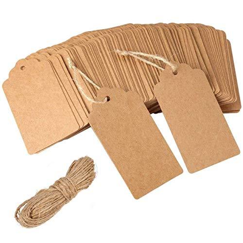 100 Stücke Kraft Leere Tags Kraftpapier Geschenk Tags Hochzeit Zettel Vintage Papier Tags, Gegenüber der Besagten, 20 Meter Jute Bindfäden,Braun