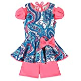 Little Girls Trendy Paisley Print Bow Cold Shoulder Sleeve Peplum Tunic & Fucshia Short Dress Set - Proudly Made in USA by Mia Belle Baby