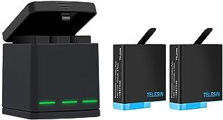 TELESIN Trippelladdare batteriladdare kostym, 3-kanals batteriladdare laddningsbox med 2 uppladdningsbara litiumjonbatteri...
