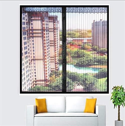 Anti-muggengaas magie gordijn met Heavy Duty M zwart venster vliegengaas magnetisch, zelfklevend mesh venster gordijnen bescherming onzichtbaar welke grootte voor bay en boog Windows Cottage raam