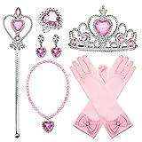 Comius Sharp Princesa Vestir Accesorios, 8 Piezas Princesa Dressing Up Costume Accessories - Corona Anillo Sceptre Collar Pendientes Guantes para Niña (Pink)