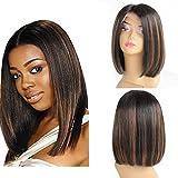 zanawigs 7 A Cheveux br¨¦siliens Lace Front Wig sans colle 35,56 Coupe droite Bob perruque courte Bob Perruques de cheveux humains naturel noir points forts # 30