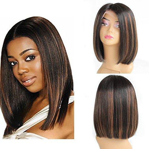 zanawigs 7 A Cheveux bršŠsiliens Lace Front Wig sans colle 35,56 Coupe droite Bob perruque courte Bob Perruques de cheveux humains naturel noir points forts # 30